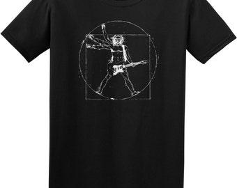 Vitruvian man Guitar player funny T-shirt music humor tee