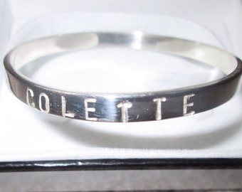 Personilised silver name bangle