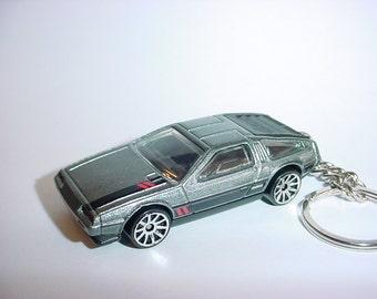 3D Delorean DMC-12 custom keychain by Brian Thornton keyring key chain finished in gunmetal color trim diecast metal body