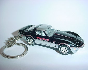 3D 1978 Chevrolet Corvette INDY 500 PACE car custom keychain by Brian Thornton keyring key chain finished in black color trim opening hood