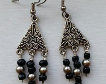 Black and Silver Dangle Chandelier Earrings