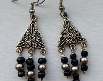 Black and Silver Dangle Chandelier Earrings