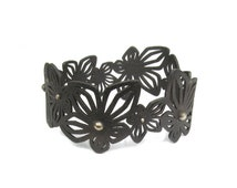 Black steel bracelet, wide flower bangle, orchid jewelry, size small, 3D printed jewelry