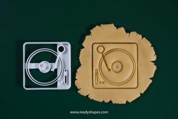 Dj Records player cookie cutter, 3d printed - dj music vynil player biscuit cutter mold for creative baking