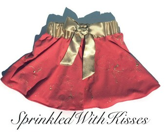 Coral and gold toddler skirt with gold bow 2T-4T