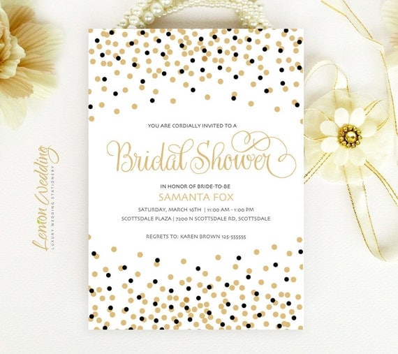 Gold and black bridal shower invitations elegant confetti for Black and gold wedding shower invitations