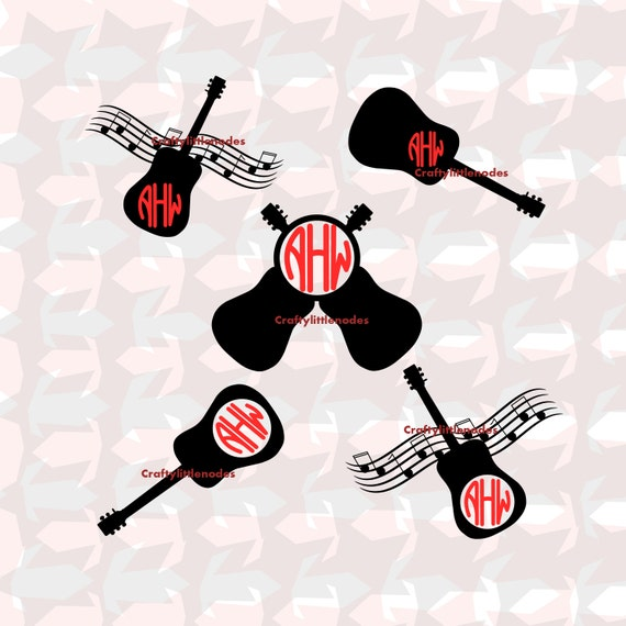 Guitar/Music Monogram Set .SVG .STUDIO Scalable Vector instant download commercial use cutting file cricut explore silhouette cameo