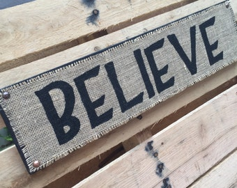 "Burlap ""BELIEVE"" Hanging Sign"