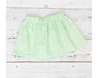 18 month baby and toddler skirt // mint and gold triangles // ready to ship