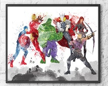 Avengers Watercolor Print, Movie Poster, Wall Art Print, Hulk, Iron Man, Captain America, Thor, Black Widow, Hawkeye, Kids Room Decor - 145