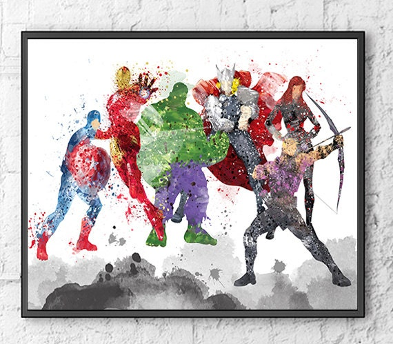 Avengers Watercolor: Avengers Watercolor Print Movie Poster Wall Art By