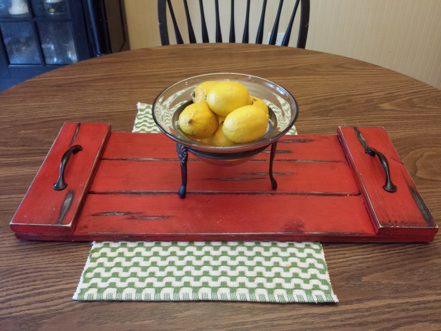 Serving tray coffee table or distressed ottoman by recycledtrees Decorative trays for coffee table