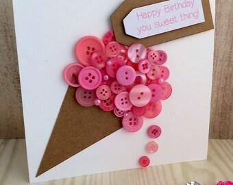 Handmade Button Yummy Ice Cream Card