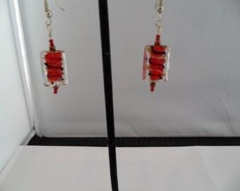 Red acrylic earrings - 9