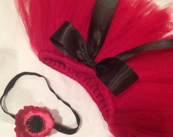 Red and black infant Tutu with poppy headband