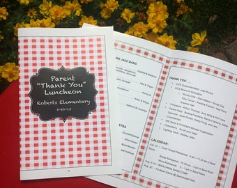 RED GINGHAM Program Template is perfect for any event! ...meetings, school events, reunions, etc.