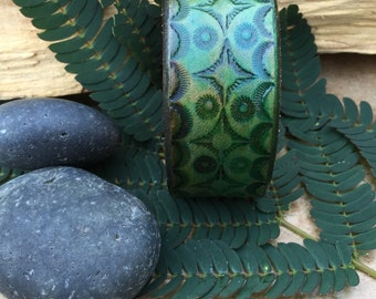 Leather Cuff Bracelet - Geometric - Hand Tooled - Boho - Green - Hand Dyed - Rustic - Artsy