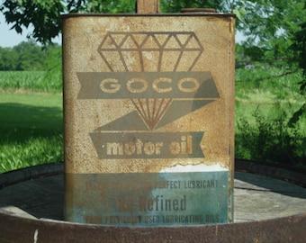 GOCO Oil Can, Motor Oil Can, Rusty Oil Can, 2 Gal Oil Can, Vintage Oil Can, Metal Oil Can,