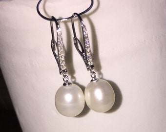 Pearl Earrings, Dangle pearl earrings, pearl drop earrings, freshwater pearl earring 925 Sterling Silver 9-10mm