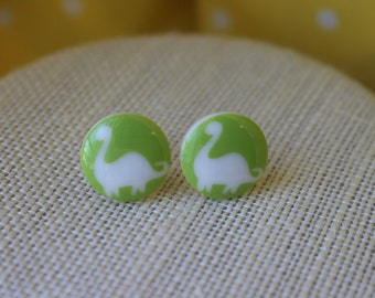 Bright Green Dinosaur Stud Earrings