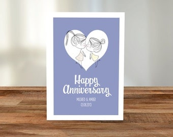 Personalised 'Lesbian Anniversary' A5 Card