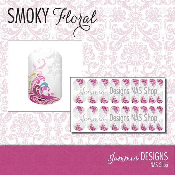 Smoky Floral NAS (Nail Art Studio) Design