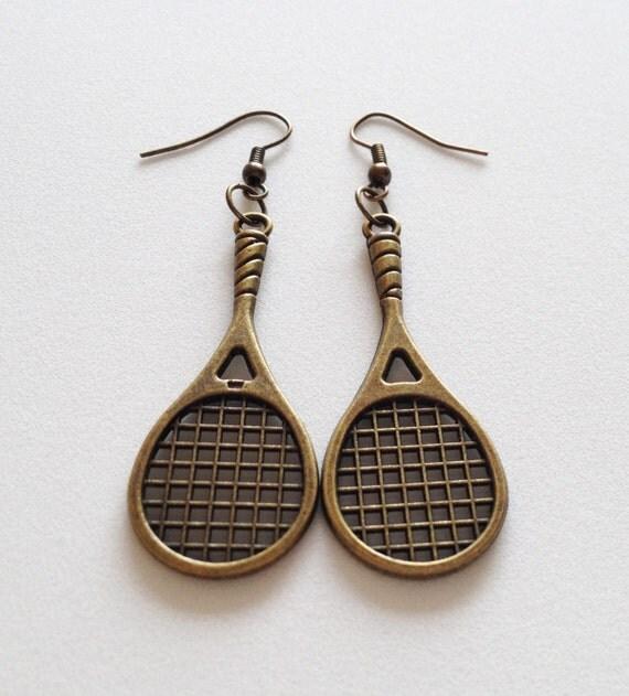 tennis racket earrings tennis pendant charm dangle by zahuczki