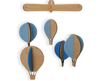 Bamboo hot airballoons - blue