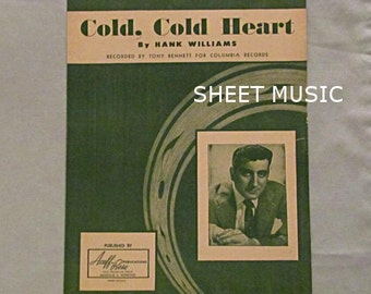 Tony Bennett Sheet Music Cover, 'Cold, Cold Heart', Hank Williams 1951, Country Western