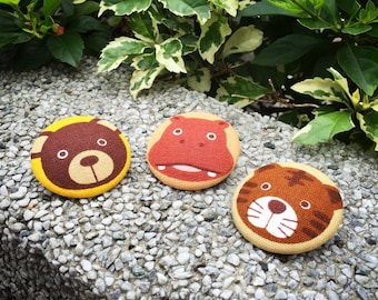 4cm Fabric Badges / Animal Series A (Bear, Hippo and Tiger)