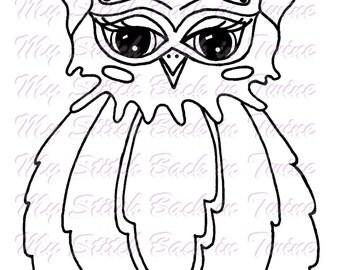 Digital stamp colouring image -  Owl Bessie . jpeg / png