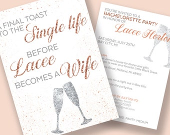 Bachelorette Invitations, Bachelorette Party Itinerary, A Final Toast to the Single Life, Printable and Downloadable Invitations