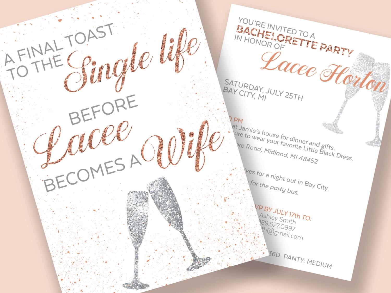 Bachelorette Invitations Bachelorette Party Itinerary A