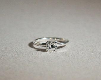 squared geometric black stone silver ring