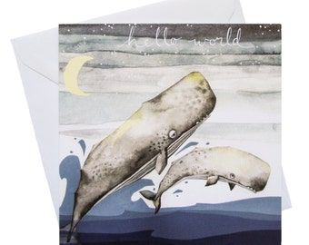 Greetings Card : Hello World Baby Whale