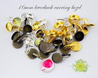 16mm Leverback Earring-Bezel Earring Blanks-French Lever Back Earring Blank-WHOLESALE Leverback Earring Findings-Leverback Earring Tray