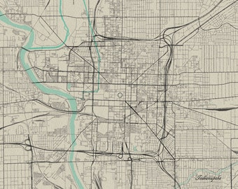 Indianapolis, Indiana Vintage Style Map