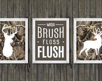 Camo Bathroom Decor, Boys Bathroom Decor, Deer Bathroom Decor, Wash, Brush,
