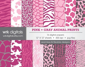 Pink Animal Print Seamless Digital Paper Pack, Digital Scrapbooking, Instant Download, Leopard Print, Snake Skin