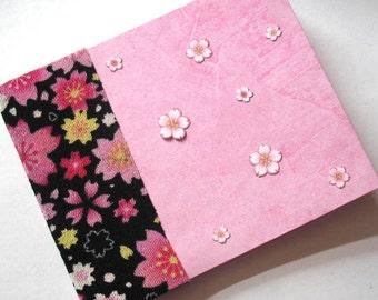 Handmade Pink Sakura Mini Journal, Cherry Blossoms in Pink on Black Hand Bound Mini Notebook