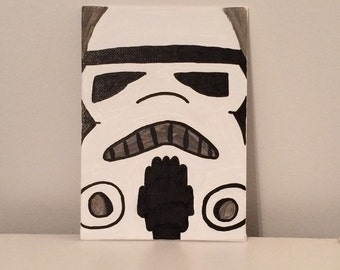 "Star Wars ""Storm Trooper"" Hand Painted Canvas"