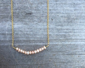 Freshwater Blush Pink Pearl Necklace - Pearl Necklace - Minimalist Necklace -Dainty Necklace - Petite Necklace - Bridesmaid Necklace