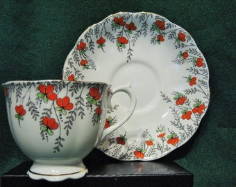 ROYAL ALBERT TEACUP & Saucer - Orange Flowers, Pattern #223,  c.1930's