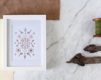 Copper Foil Print - Art Print - Boho Chic Poster - Home Decor - Geometric Art Illustration - Poster - Gold Art Print - Minimal