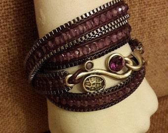 purple crystal wrap bracelet