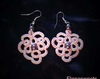 "Tatted earrings ""Rose petals"""