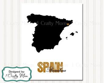Spain Silhouette Map Barcelona Artwork Decor Wall Art 8x10 11x14 Printable Digital Instant Download Print