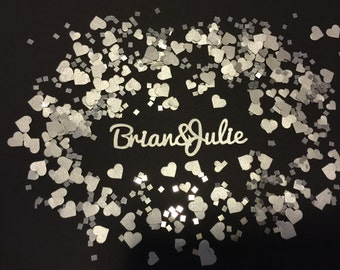 Custom Personalized Confetti - Wedding Reception, Bridal Shower, 25th Anniversary Party, Engagement Party, Romantic, Love, Couples