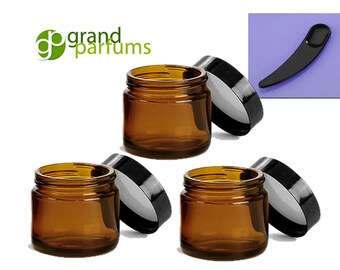 24  2 Oz Amber Glass Jars, Quality Empty Cosmetic Containers & Spatulas/Spoons 60mL with Black Lids Sugar Scrub, Salt