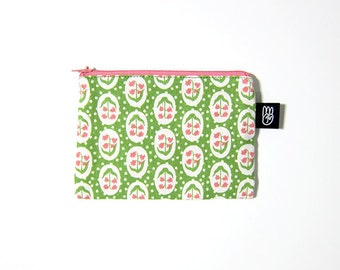 Lime Floral Print Coin Purse, Credit Card Purse, Small Zip Pouch, Card Pouch